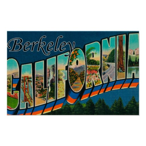 Berkeley, California - Large Letter Scenes Poster