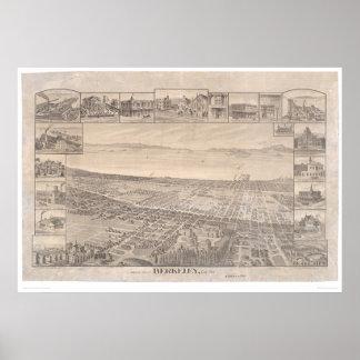 Berkeley, mapa panorámico 1891 (0099A) del CA - re Póster