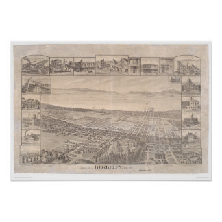 Berkeley, mapa panorámico 1891 (0099A) - malestar  Posters