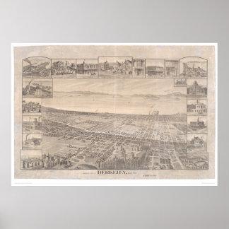 Berkeley, mapa panorámico 1891 (0099A) - malestar  Póster