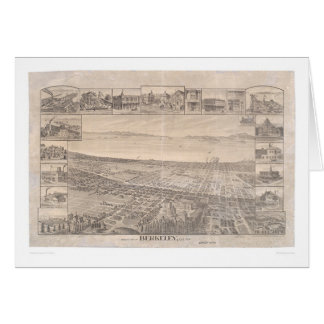 Berkeley, mapa panorámico 1891 (0099A) - malestar  Felicitación