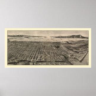 Berkeley, mapa panorámico de CA - 1909 Póster