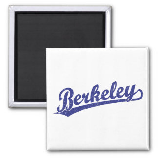 Berkeley script logo in blue 2 inch square magnet