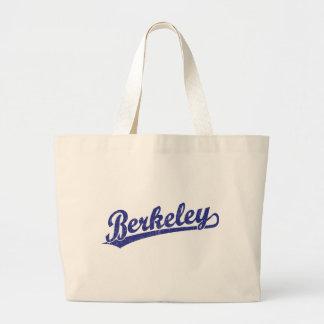 Berkeley script logo in blue bag