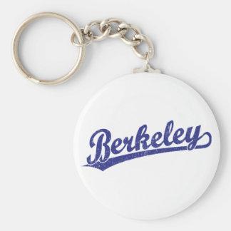 Berkeley script logo in blue basic round button keychain