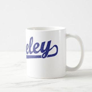Berkeley script logo in blue coffee mug