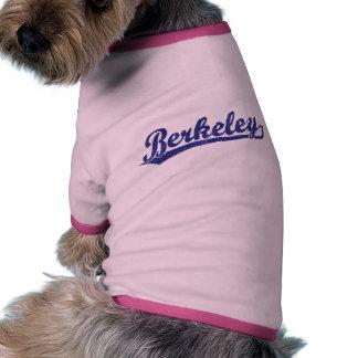 Berkeley script logo in blue dog t-shirt