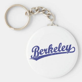Berkeley script logo in blue keychain