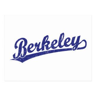 Berkeley script logo in blue postcard