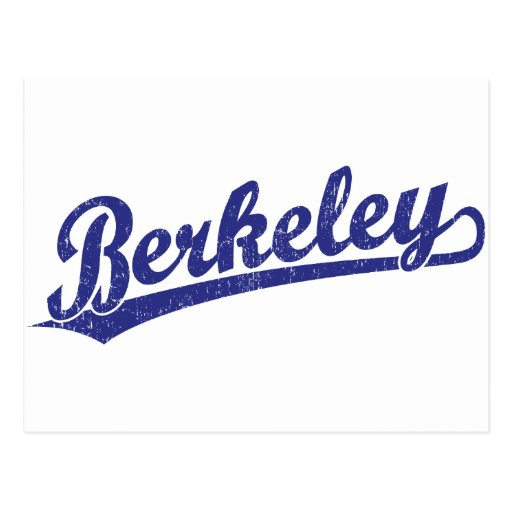 Berkeley script logo in blue postcards