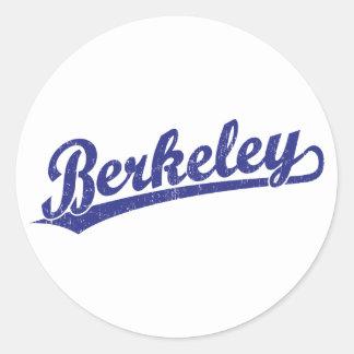 Berkeley script logo in blue stickers