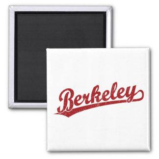 Berkeley script logo in red 2 inch square magnet