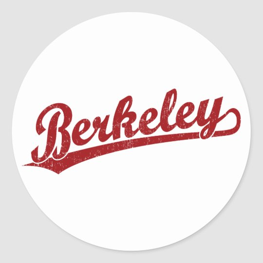 Berkeley script logo in red classic round sticker