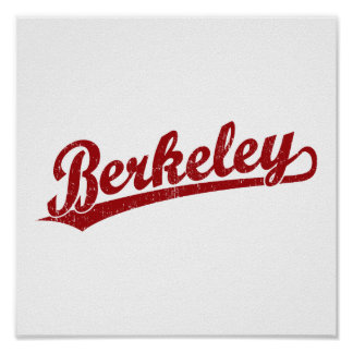 Berkeley script logo in red poster
