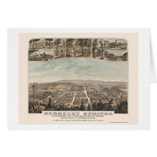 Berkeley Springs, mapa panorámico de WV - 1889 Tarjetas