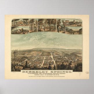 Berkeley Springs WV 1889 Antique Panoramic Map Poster