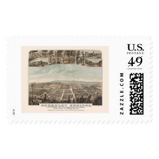 Berkeley Springs, WV Panoramic Map - 1889 Postage Stamps