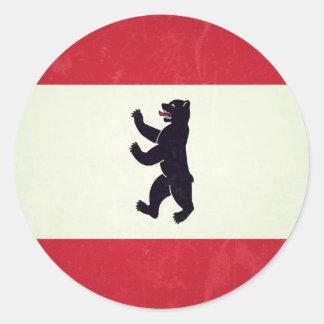 Berlim Grunged Flag Classic Round Sticker