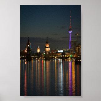 Berlin Alexanderplatz Oberbaum Bridge night Poster