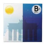Berlin at day and night - Brandenburger gate Ceramic Tile