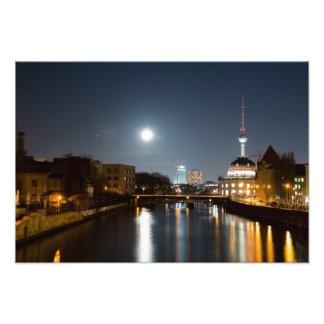Berlin at night Bode museum and Alex Photo Print