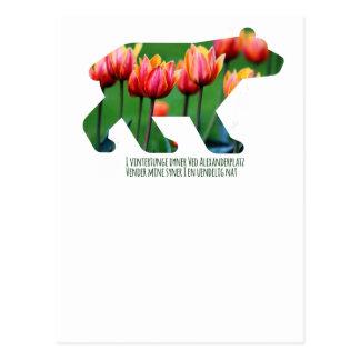 Berlin Bear - Tulips Tarjeta Postal