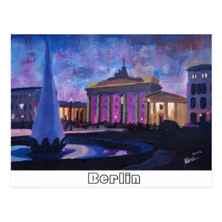 Berlin Brandenburg Gate With Fountain at Dusk Postcard