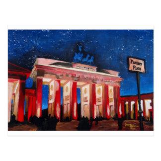 Berlin Brandenburg Gate With Paris Place At Nigh Post Card