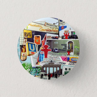 Berlin collage Art with gate beer bottle Pinback Button