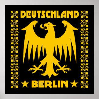 Berlin Deutschland German Eagle Black/Yellow Poster