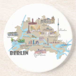 Berlin Favorite Map with sightseeing Highlights Drink Coaster