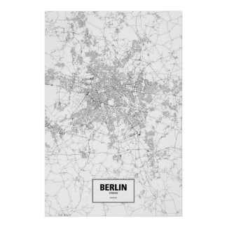 Berlin, Germany (black on white) Poster