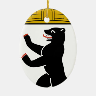 Berlin (Germany) Coat of Arms Double-Sided Oval Ceramic Christmas Ornament