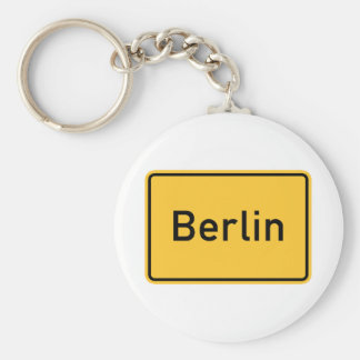 Berlin, Germany Road Sign Basic Round Button Keychain