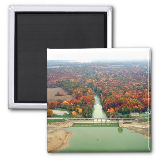 Berlin Lake and Dam 2 Inch Square Magnet