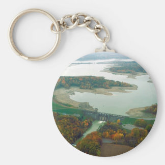 Berlin Lake and Dam 2 Basic Round Button Keychain