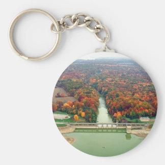 Berlin Lake and Dam Basic Round Button Keychain