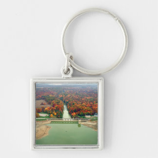 Berlin Lake and Dam Silver-Colored Square Keychain