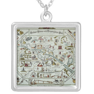 Berlin living and amusement plan silver plated necklace