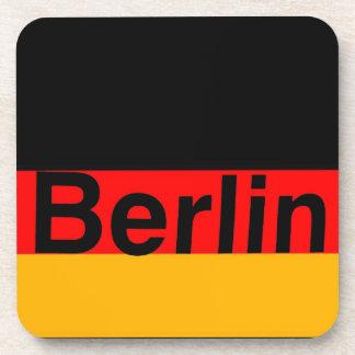 Berlin Logo in Black on German Flag Coaster