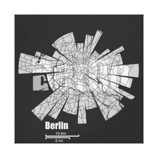Berlin Map Wrapped Canvas Canvas Print