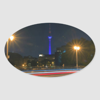 Berlin night landscape oval sticker