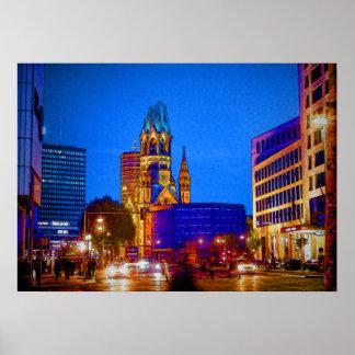 Berlin nightlife - Kaiser Wilhelm Memorial Church Poster