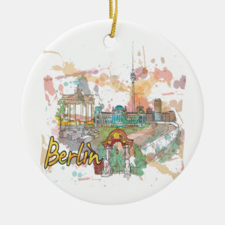 Berlin Double-Sided Ceramic Round Christmas Ornament