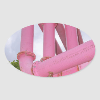 Berlin pink water pipes oval sticker