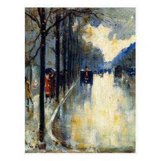 Berlin Street in Late Fall, fine art painting Postcard