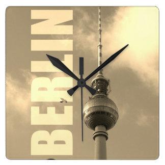 BERLIN TV Tower 002.F.002.3 Square Wall Clock