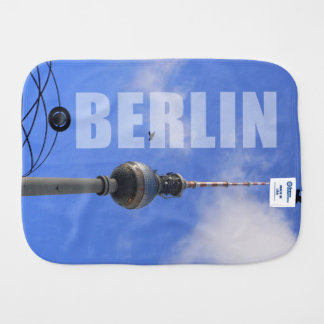 """BERLIN TV Tower with detail OF """"World time Clock """" Burp Cloth"""