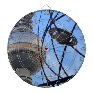 """BERLIN TV Tower with Detail of """"World Time Clock"""" Dartboard"""