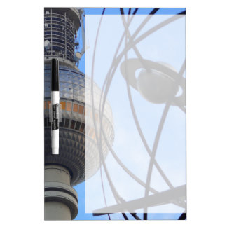 """BERLIN TV Tower with Detail of """"World Time Clock"""" Dry-Erase Board"""